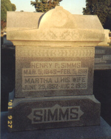Henry & Martha Simms tombstone